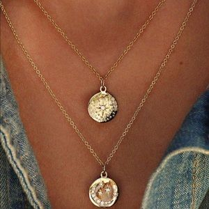 Jewelry - Gold coin medallion double layered necklace